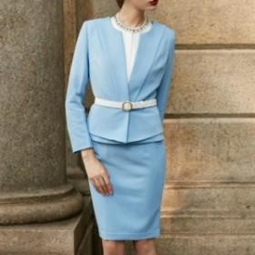 パステルカラーで優しい雰囲気/スーツジャケット+スカート 送料込み