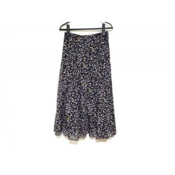 【中古】 レリアン ロングスカート サイズ11 M レディース ダークネイビー パープル マルチ 花柄