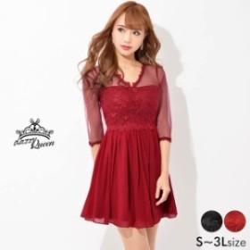 72f9a4ae201e6 ドレス キャバ ワンピース 大きいサイズ SMLサイズ フラワー刺繍シースルーAラインミニドレス キャバドレス