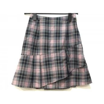【中古】 ヨークランド YORKLAND スカート サイズ9AR S レディース 美品 グレー ピンク 黒 チェック柄