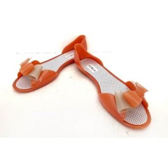 【中古】 フルラ FURLA パンプス 37 レディース オレンジ ライトグレー リボン PVC(塩化ビニール)