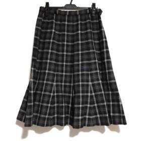 【中古】 レリアン Leilian ロングスカート サイズ13 L レディース 美品 黒 ダークブラウン マルチ