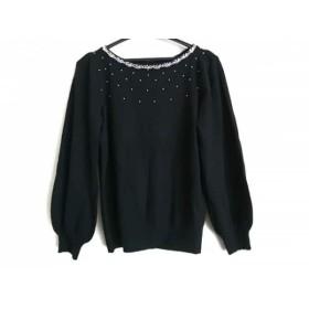 【中古】 アナトリエ anatelier 長袖セーター サイズ38 M レディース 美品 黒 ビジュー
