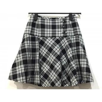 【中古】 ヨークランド YORKLAND スカート サイズ9AR S レディース 美品 黒 グレー 白 チェック柄