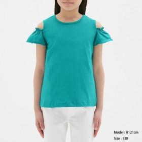 (GU)GIRLSオープンショルダーフリルT(半袖) BLUE 110