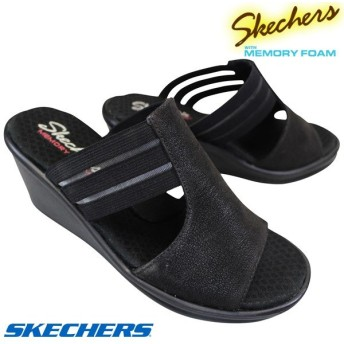 スケッチャーズ 31598 ブラック Rumblers-ZESTY レディース 厚底サンダル ミュールサンダル カジュアルシューズ 婦人靴 履きやすい靴 7cmヒール ウエッジソール