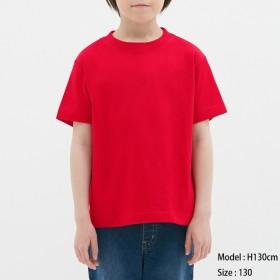 (GU)KIDSコットンカラークルーネックT(半袖) RED 150