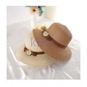 帽子レディース夏新作ストローハット麦わら帽子UVカット日よけ紫外線対策日焼け対策リゾート海辺可愛い花飾りJZAH1-AL305