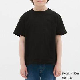 (GU)KIDSコットンカラークルーネックT(半袖) BLACK 140