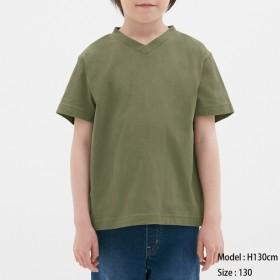 (GU)KIDS(男女兼用)コットンカラーVネックT(半袖) OLIVE 130