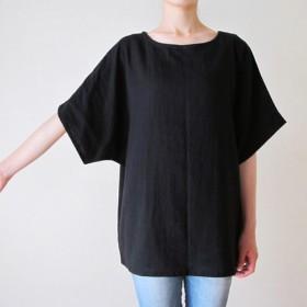 ダブルガーゼ(綿100%)のシャツ(ブラック)
