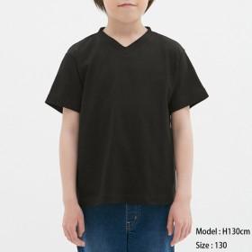 (GU)KIDS(男女兼用)コットンカラーVネックT(半袖) BLACK 110
