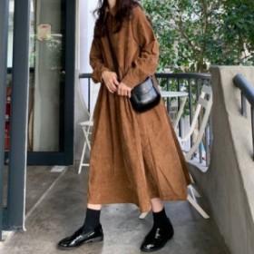 人気モデル 売れ筋商品 ワンピース ロング シャツワンピース ロング丈 長袖 コーデュロイ シャツ ゆったり 大きいサイズ フレアワンピ