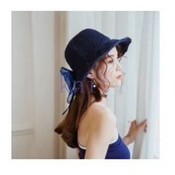 帽子レディース夏新作ストローハット麦わら帽子ビーチハットハットUVカット日よけ紫外線対策日焼け対策リゾート海辺可愛いリボンJZA
