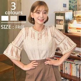 夏の新しい韓国のトランペットの袖白いレースのシャツのフックの花中空シャツ女性の甘い小さな新鮮な外国の小さなシャツ