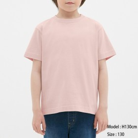 (GU)KIDS(男女兼用)コットンカラークルーネックT(半袖) PINK 120