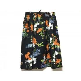 【中古】 ローズティアラ Rose Tiara スカート サイズ42 L レディース 美品 黒 オレンジ マルチ 花柄