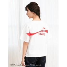 【オンワード】 earth music & ecology(アースミュージック&エコロジー) CocaーCola/earthワンポイントTシャツ Off White F レディース 【送料無料】