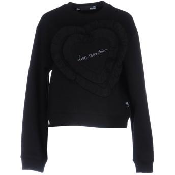 《期間限定セール開催中!》LOVE MOSCHINO レディース スウェットシャツ ブラック 44 コットン 64% / ポリエステル 36%