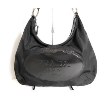 【中古】 プラダ PRADA ショルダーバッグ - BR3271 黒 ナイロン レザー