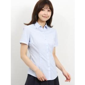 【TAKA-Q:トップス】形態安定レギュラーカラースキッパーテープ使い半袖シャツ