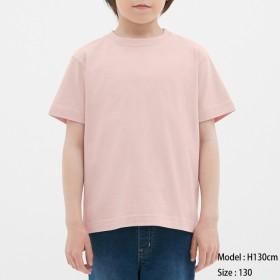 (GU)KIDSコットンカラークルーネックT(半袖) PINK 130