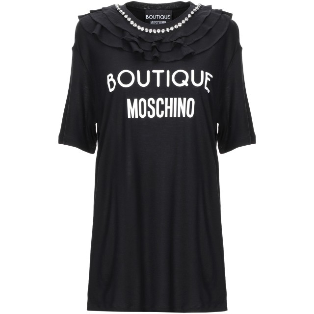 《期間限定セール開催中!》BOUTIQUE MOSCHINO レディース T シャツ ブラック 36 レーヨン 100%