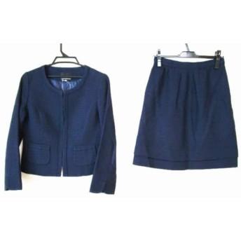 【中古】 クリアインプレッション CLEAR IMPRESSION スカートスーツ サイズ3 L レディース ネイビー ラメ