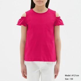 (GU)GIRLSオープンショルダーフリルT(半袖) PINK 140