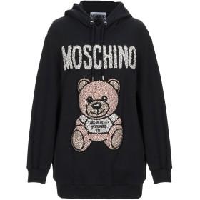 《期間限定セール開催中!》MOSCHINO レディース スウェットシャツ ブラック 40 コットン 100% / ガラス