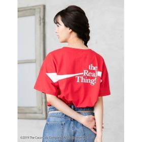 【オンワード】 earth music & ecology(アースミュージック&エコロジー) CocaーCola/earthワンポイントTシャツ Red F レディース 【送料無料】