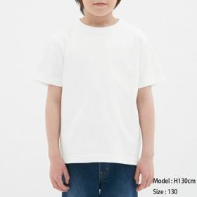 (GU)KIDS(男女兼用)コットンカラークルーネックT(半袖) OFF WHITE 140