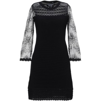 《セール開催中》BOUTIQUE MOSCHINO レディース ミニワンピース&ドレス ブラック 38 ナイロン 100% / レーヨン / ポリエステル