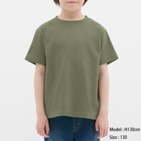 (GU)KIDS(男女兼用)コットンカラークルーネックT(半袖) OLIVE 130
