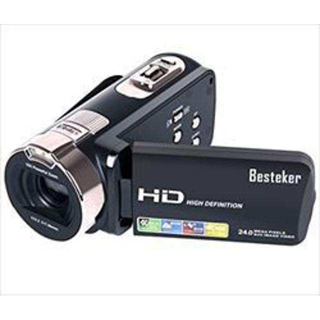 ポータブルビデオカメラ 2400万画素 HD1080P Besteker 16倍デジタルズーム ビデオカメラ