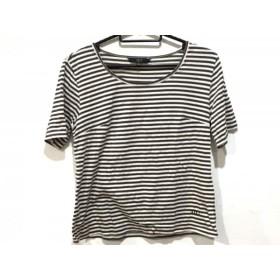 【中古】 ダックス DAKS 半袖Tシャツ サイズ38 L レディース ダークブラウン アイボリー ボーダー