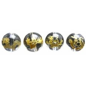 四神獣4点セット 水晶金彫り 彫刻ビーズ 12mm玉 青龍・朱雀・白虎・玄武 天然石 風水 パワーストーン