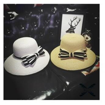 帽子レディース夏新作ストローハット麦わら帽子ビーチハットUVカット日よけ紫外線対策日焼け対策リゾート海辺可愛いリボン