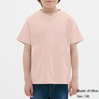 (GU)KIDS(男女兼用)コットンカラーVネックT(半袖) PINK 110