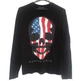 【中古】 フィリッププレイン 長袖Tシャツ サイズM メンズ 黒 アイボリー マルチ スカル/ラインストーン
