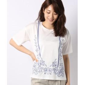 【49%OFF】 レリアン 刺繍Tシャツ レディース オフホワイト 11 【Leilian】 【タイムセール開催中】