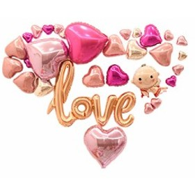 Happiest 誕生日 結婚式アルミバルーン(文字ハートセット) ウェディング パーティー 飾り(Love:ロマンティックなハート&文字)