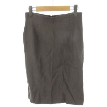 クリッツィア KRIZIA K of ひざ丈 スカート 台形 ポケットあり カーキブラウン サマーウール 42 レディース