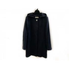 【中古】 レッセパッセ LAISSE PASSE コート サイズ36 S レディース ネイビー 冬物/ビジュー