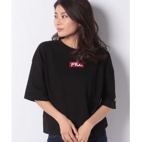 【10%OFF】 デイジーメリー FILAボックス刺繍Tシャツ レディース ブラック M 【DAISY MERRY】 【タイムセール開催中】