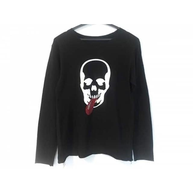 【中古】 ルシアンペラフィネ 長袖Tシャツ サイズL メンズ 黒 白 レッド スカル/ラインストーン