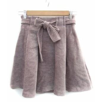 【中古】リリーブラウン Lily Brown スカート フレア コーデュロイ ミニ リボン付き 1 紫 パープル /FF38 レディース