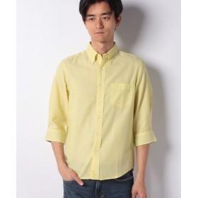 【46%OFF】 イッカ 7分麻混オックスシャツ メンズ イエロー L 【ikka】 【セール開催中】