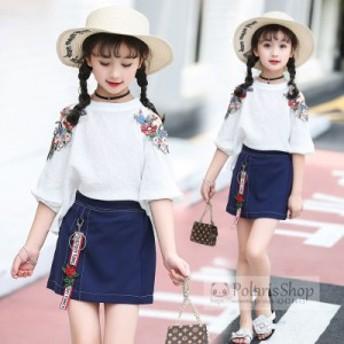 キッズ 韓国子供服 セットアップ 女の子 刺繍花柄 Tシャツ+スカート 2点セット カジュアル 子ども 可愛い ジュニア 夏新作 おしゃれ