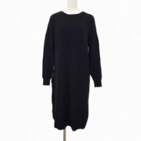 【中古】ショコラフィネローブ chocol raffine robe ワンピース ニット ロング クルーネック F 黒 ブラック MCK レディース